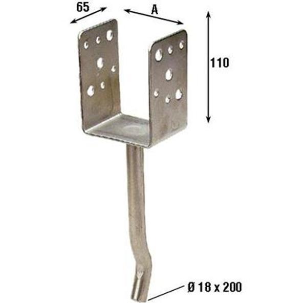 Supporto X Pilastri A Pavimento Inox  misura 90x90mm (787 In)PZ.2