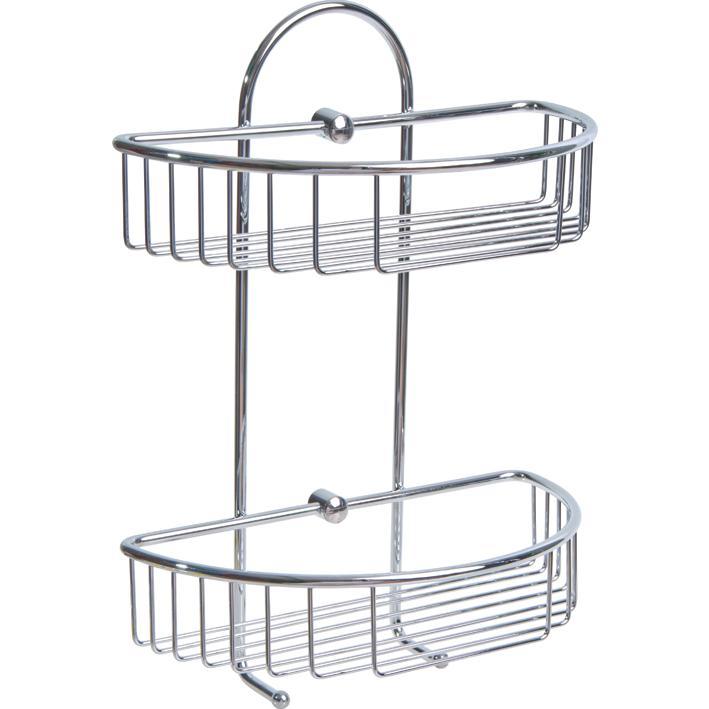 Portaoggetti bagno doppio c appendino inox cromato - Portaoggetti bagno ...