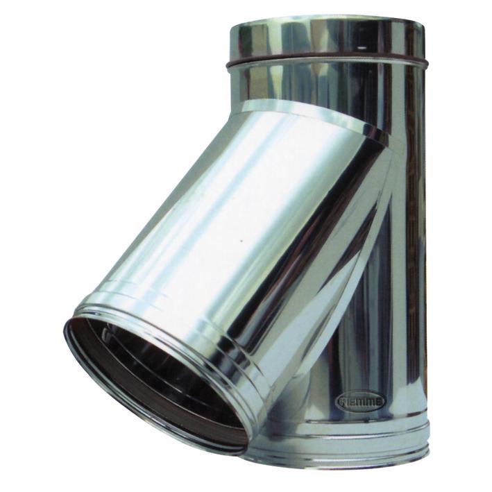Raccordo y 45 x canna fumaria acciaio inox 180mm speedy 08 for Raccordo in acciaio verticale